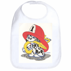 Infant baby bib dalmatian firefighter fireman puppy dog doggy