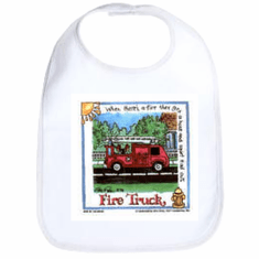 Infant baby bib Fire truck Firefighter fireman