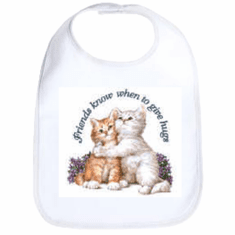 Infant baby bib Friends know when to give hugs kitten kitty cat