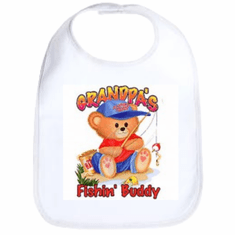 Infant baby bib Grandpa's Fishin' buddy teddy bear