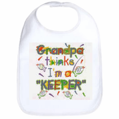 Infant baby bib Grandpa thinks I'm a keeper fish