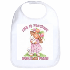 Infant Baby bib Life is Precious handle with prayer little girl kitten kitty cat