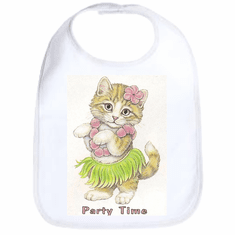 Infant baby bib Party time kitten kitty cat in a hula skirt