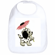 Infant baby bib puppy dog doggy dalmatian with flower