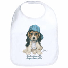 Infant baby bib puppy dog doggy in a ball cap Girls love me boys fear me