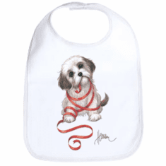 Infant baby bib puppy dog doggy with red ribbon