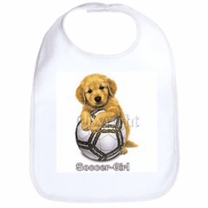 Infant baby bib soccer girl puppy dog doggy