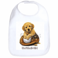 Infant baby bib Softball girl puppy ball glove