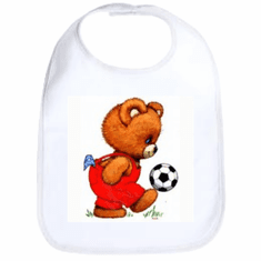 Infant baby bib teddy bear soccer ball