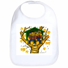 Infant baby bib teddy bears treehouse