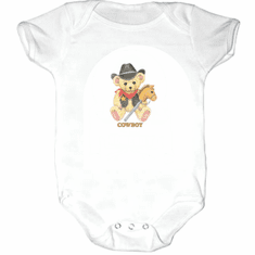 Infant baby toddler Creeper sleeper body suit one piece Cowboy teddybear horse on a stick