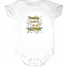 Infant baby toddler Creeper sleeper body suit one piece Daddy thinks I'm a keeper fish