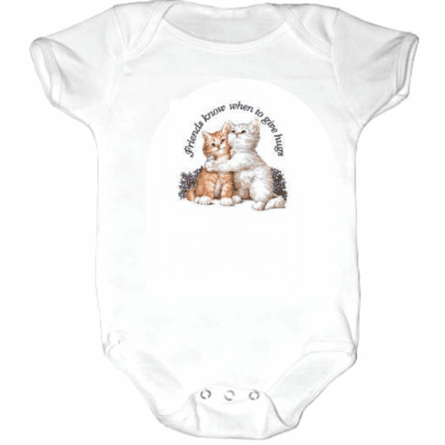 Infant baby toddler Creeper Sleeper body suit one piece Friends know when to give hugs kitten kitty cat