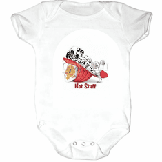 Infant baby toddler Creeper sleeper body suit one piece Hot stuff dalmatian puppy dog doggy