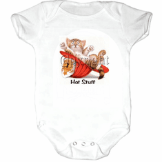 Infant baby toddler Creeper sleeper body suit one piece Hot stuff kitten kitty cat future firefighter hat