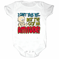 Infant Baby toddler Creeper sleeper body suit one piece I can't talk yet but I've got an ATTITUDE