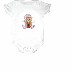 Infant baby toddler Creeper sleeper body suit one piece kitten kitty cat I heart love you u