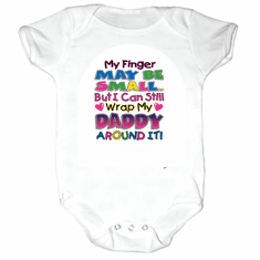 Infant baby toddler Creeper sleeper body suit one piece My finger may be small but I can still wrap my Daddy around it