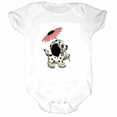 Infant baby toddler Creeper sleeper body suit one piece puppy dog doggy dalmatian with flower
