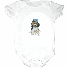 Infant baby toddler Creeper sleeper body suit one piece puppy dog doggy in a ball cap Girls love me boys fear me