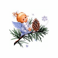 Infant Baby toddler kids Angel on a evergreen tree limb pinecone