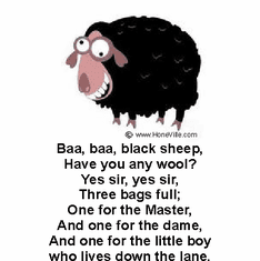 Infant baby toddler kids baa black sheep have you any wool master dame little boy down the lane