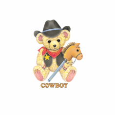 Infant baby toddler kids Cowboy teddybear horse on a stick