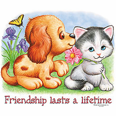 Infant baby toddler kids Dog doggy puppy Kitten kitty cat Friendship lasts a lifetime butterfly flowers