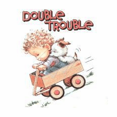Infant baby toddler kids Double trouble little boy puppy dog doggy in a wagon