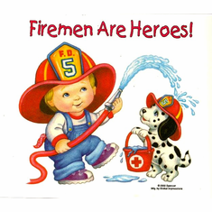 Infant baby toddler kids Firemen are heroes little boy dalmatian puppy dog doggy