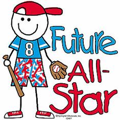 Infant baby toddler kids Future baseball All-star player sports ball stick figure