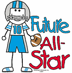 Infant baby toddler kids Future football All-star player sports ball stick figure
