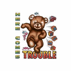 Infant baby toddler kids Here comes trouble teddy bear