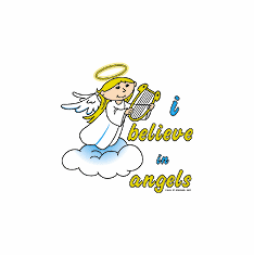Infant baby toddler kids I believe in Angels Angel with harp halo on a cloud