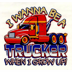 Infant baby toddler kids I wanna want to be a Trucker when I grow up truck driver