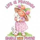 Infant Baby toddler kids Life is Precious handle with prayer little girl kitten kitty cat