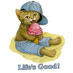Infant baby toddler kids Life's good kitten kitty cat on the beach with a ice cream cone