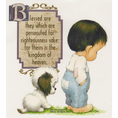 Infant baby toddler kids little boy puppy dog doggy Blessed are they which  are persecuted for righteousness sake for theirs is the kingdom of heaven