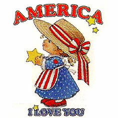 Infant baby toddler kids little girl America I love you Patriotic Americana