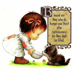 Infant baby toddler kids little girl Blessed are they who do hunger and thirst after righteousness they shall be filled