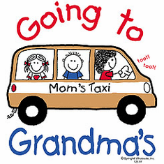 Infant baby toddler kids Mom's taxi Going to Grandma's mini van stick figure mom boy girl