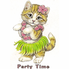 Infant baby toddler kids Party time kitten kitty cat in a hula skirt