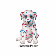 Infant baby toddler kids Patriotic Pooch dog doggy puppy red white blue dalmatian