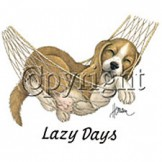 Infant baby toddler kids puppy dog doggy in a hammock lazy days