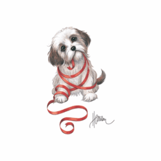 Infant baby toddler kids puppy dog doggy with red ribbon