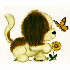 Infant baby toddler kids Puppy puppy dog doggy flower butterfly