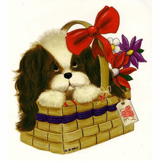 Infant baby toddler kids Puppy puppy dog doggy in a basket with a red bow
