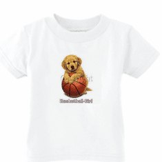 Infant baby toddler kids t-shirt Basketball girl puppy dog doggy