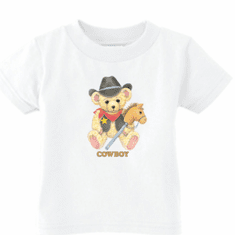 Infant baby toddler kids t-shirt Cowboy teddybear horse on a stick