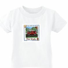 Infant baby toddler kids t-shirt Fire truck Firefighter fireman